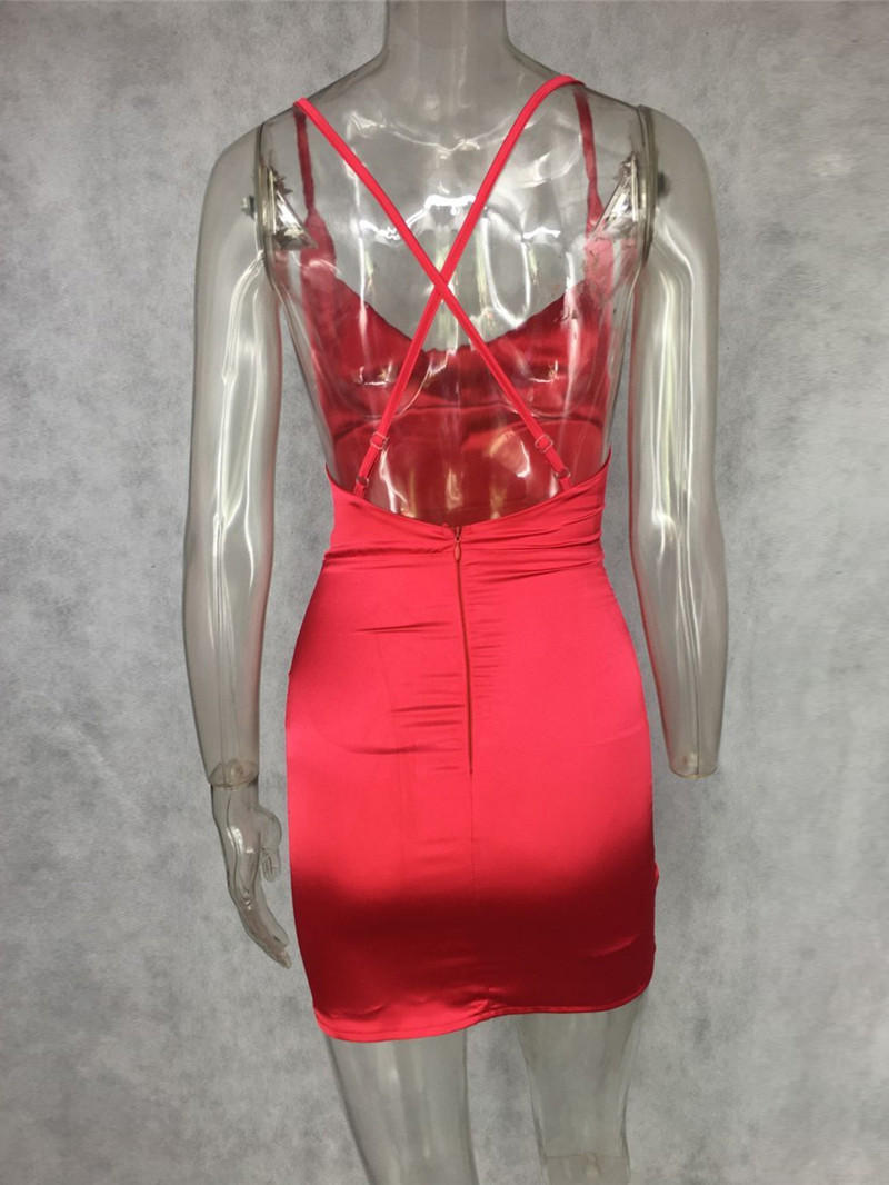 Summer Womens Sexy Satin Night Club Wear Dresses Ladies Red Spaghetti Strap  V Neck Backless Mini Bodycon Dress Vestidos-in Dresses from Women s Clothing  on ... 3168c44e8