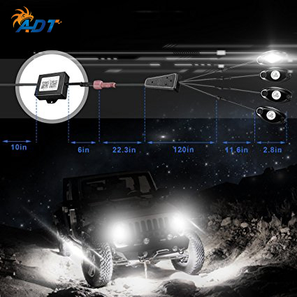 4Pcs RGB LED Rock Underbody Underglow Waterproof Trail Rig Neon Lights Kit  Cell Phone APP Mini Bluetooth Control for JEEP truck car styling 7 color led strip under car tube underglow underbody system neon lights kit ma8 levert dropship