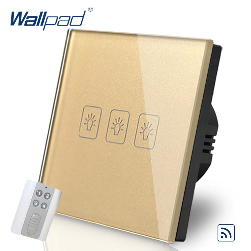 3 Gang 1 Way  EU European Wallpad Gold Glass Wireless RF Broadlink Support 3 Gang Remote Control Light Switch EU Free Shipping eu 1 gang wallpad wireless remote control wall touch light switch crystal glass white waterproof wifi light switch free shipping