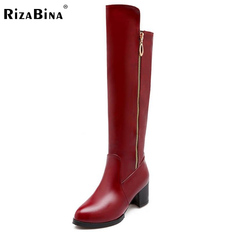 RizaBina size34 47 women high heel over knee boots ladies botas equestrian militares snow boot warm