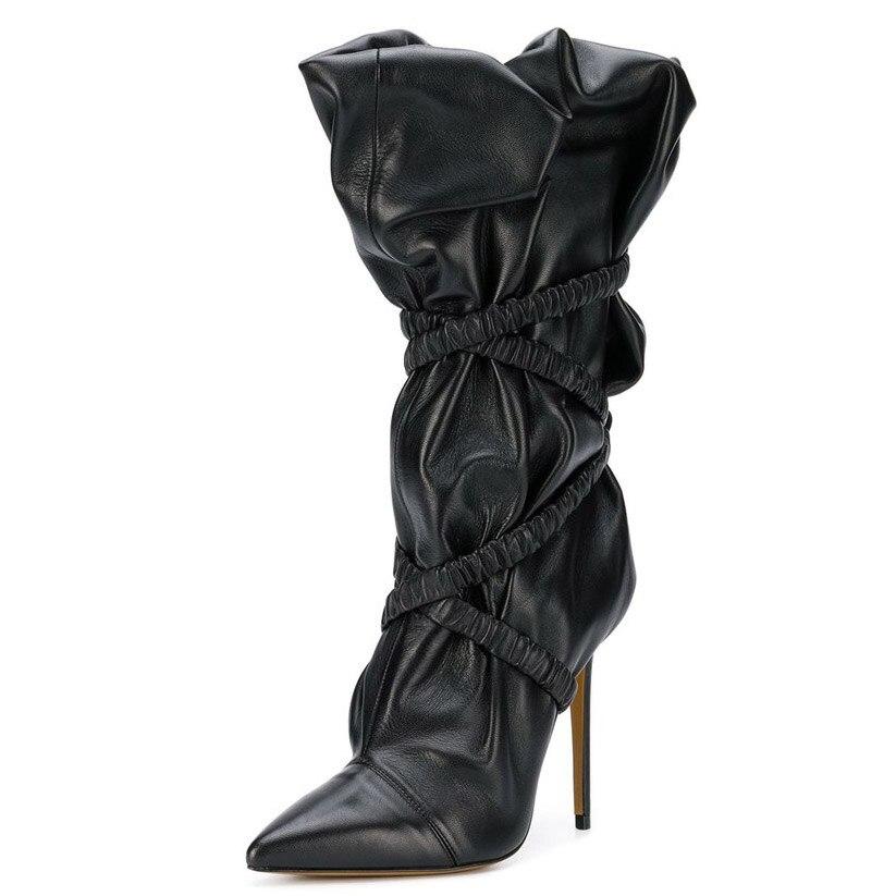 Cuir Longue Pour 12 Pu Pointu Black Ruches Bout Talon Genou En T Super Haute Bottes Spectacle Femmes D'hiver Croix Noir Chaussures Liée Cm 8WUU4w5qpx