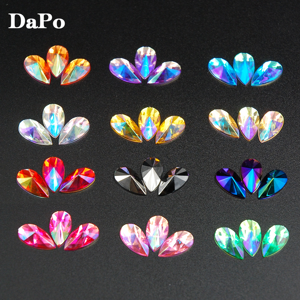 Detail Feedback Questions about 8x13mm Tear Drop Shape Acrylic Rhinestones  100Pcs 13Colors Glue On Flatback Pointed Stones Strass For DIY Crafts  Jewelry ... cfb88a508f0b