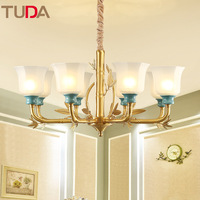 TUDA LED Chandelier Living Room Study Frosted Glass American Bamboo Leaves Copper Chandelier Ceramic Chandelier E27 110V 220V