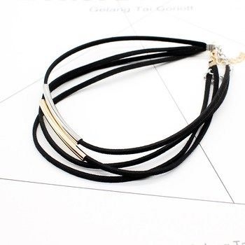 2019 New fashion Bending tube Velvet Choker Necklace Double layer Style Torque Black Short Leather Necklace Charm Collier Femme 5