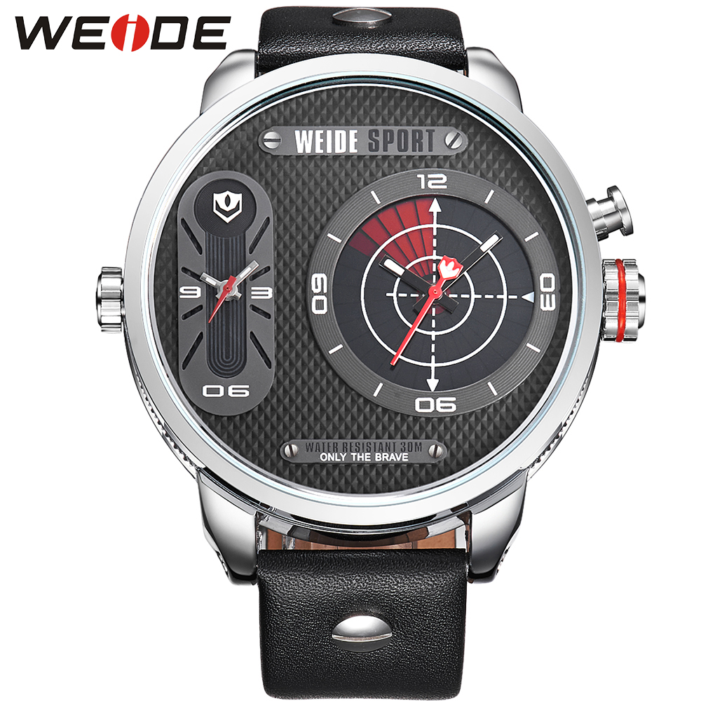ФОТО WEIDE Leather Strap Watches Men Quartz Mov't Two Time Zones Display Waterproof Unique Flashing Black Dial New With Tags relojes