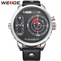 WEIDE Leather Strap Watches Men Quartz Mov't Two Time Zones Display Waterproof Unique Flashing Black Dial New With Tags relojes