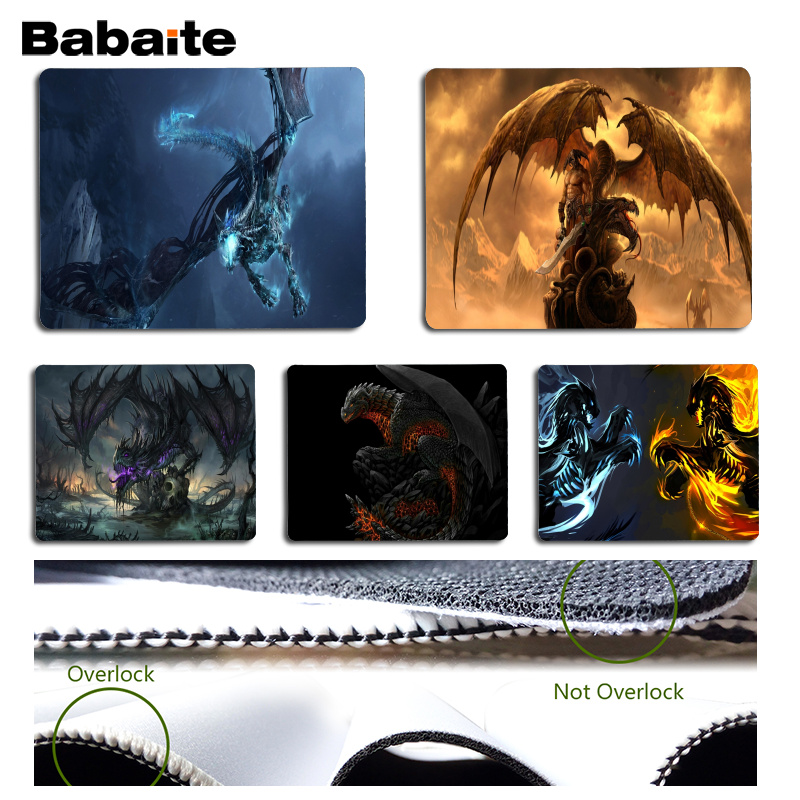 Babaite Simple Design Dragon Comfort Mouse Mat Gaming Mousepad Size for 180x220x2mm and 250x290x2mm Small Mousepad