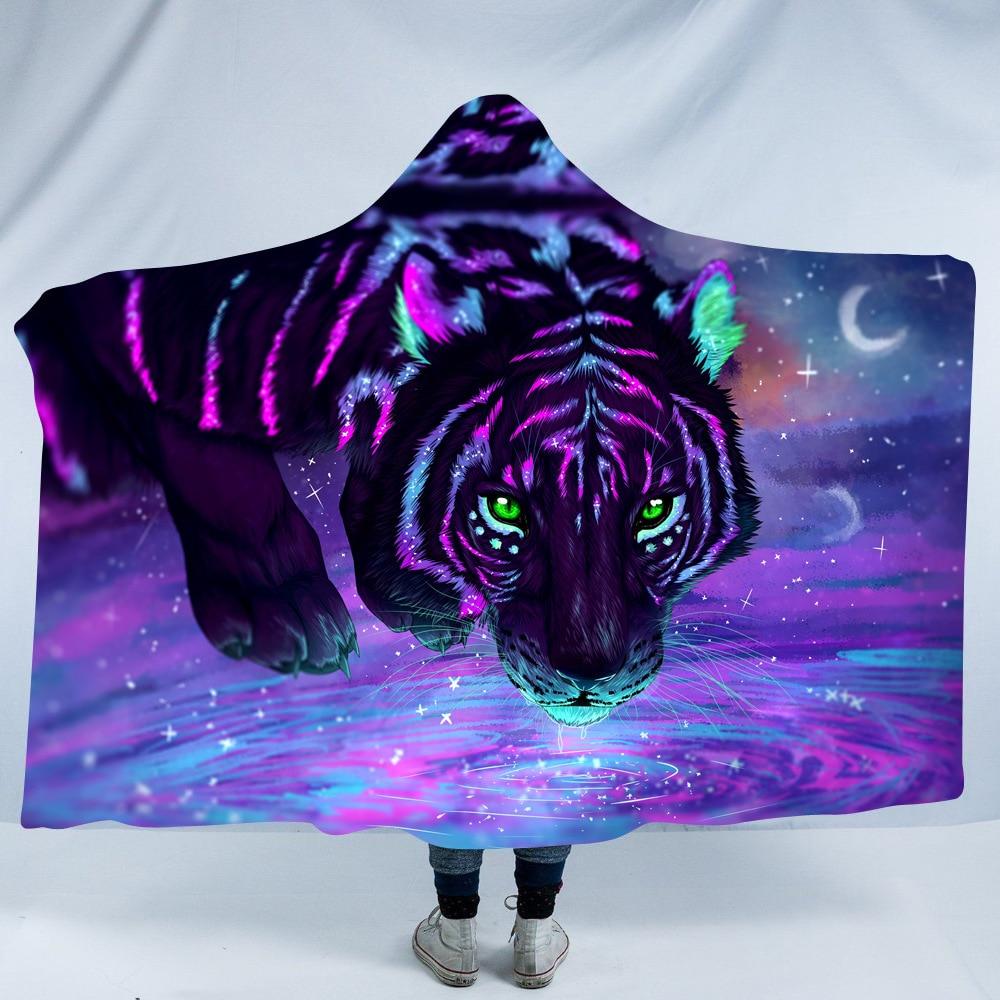 Majesty Purple Tiger Hooded Blanket