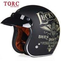 Personality Fashion Vintage Helmet TORC Open Face 3 4 Motorcycle Helmet Capacete Motoqueiro Casco Moto T50