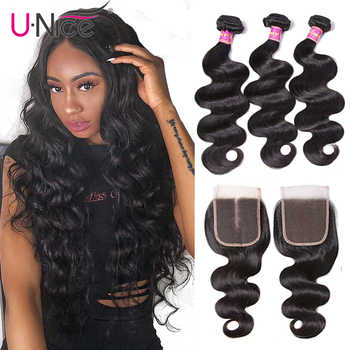 Unice Hair Indian Body Wave Human Hair Bundle With Closure Indian Hair Weave 3 Bundles with Closure Natural Color Remy Hair weft - DISCOUNT ITEM  30% OFF All Category