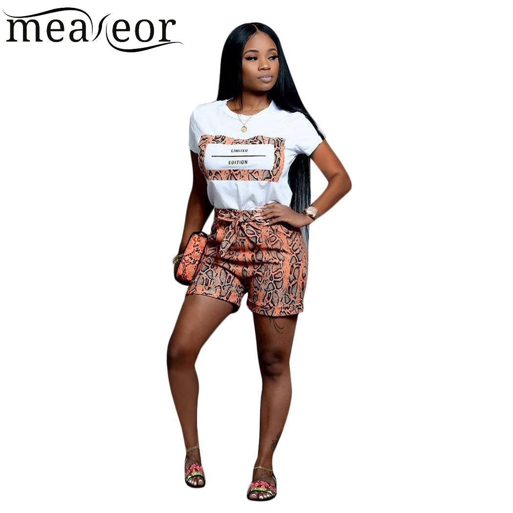 2PCS Women Casual Print Simple Short Regular Sleeve T-shirt High Waist Loose Shorts Cloth Set Summer O Neck