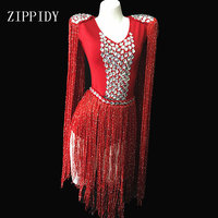 Sexy Queen Luxury Crystals Tassel Bodysuit Stage Dance Wear Rhinestones Epaulet Fringes Costume Singer Celebrate Show Outfit