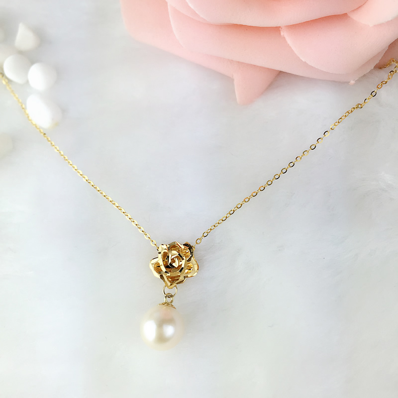 AINUOSHI 18K Yellow Gold Natural Cultured Freshwater Pearl Rose Flower Pendant White Pearl Necklace Lady Engagement Promise Gift alloy rose flower pendant necklace