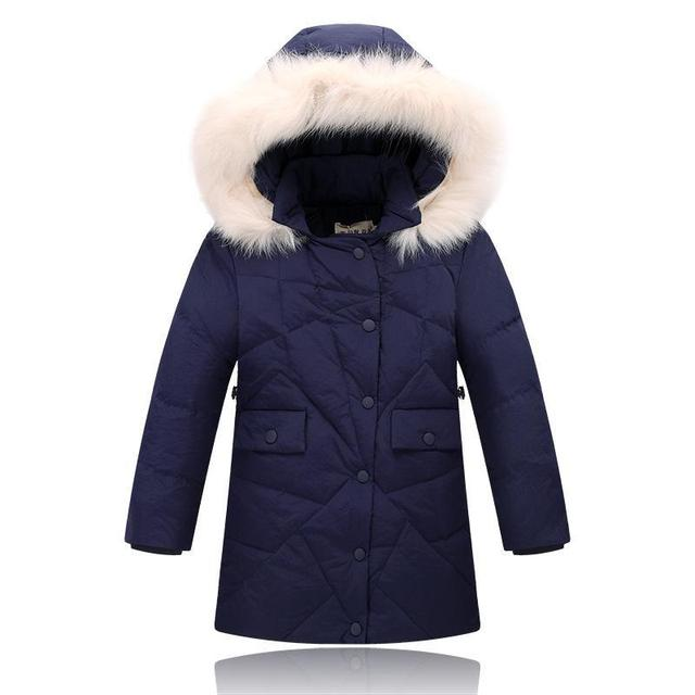 1220a039a New Arrival Girls Duck Down Jacket Girl long section thickening warm Down  Parkas Children fashion fur