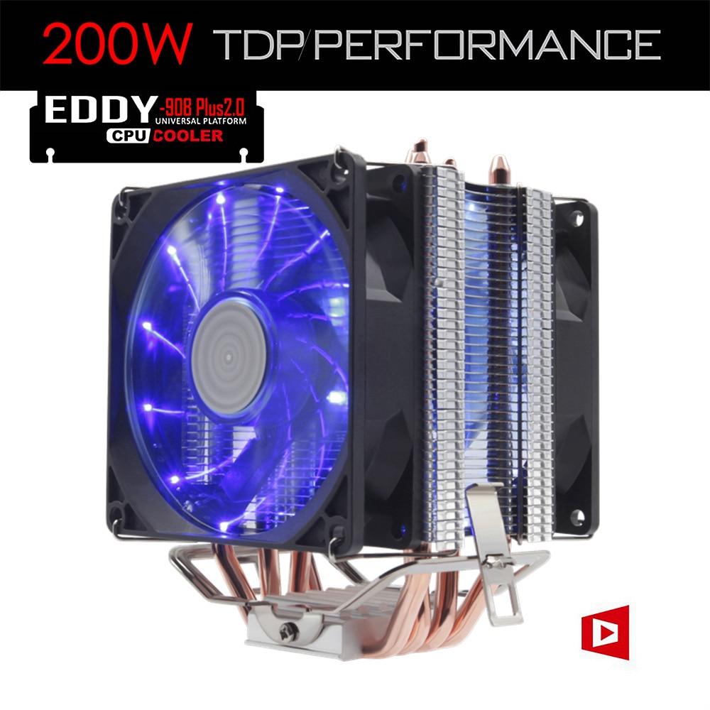 ALSEYE 4 Heatpipe Radiator CPU Cooler TDP 200W with Dual LED Quite Fan 92mm (EDDY-90B-Plus2.0) computer cooler radiator with heatsink heatpipe cooling fan for hd6970 hd6950 grahics card vga cooler