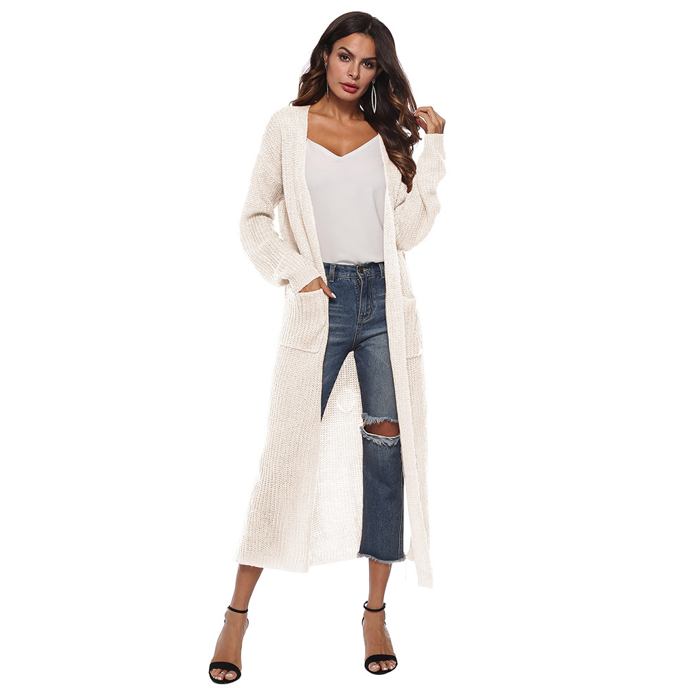 Women Sweater Lone Sleeve Boyfriend Cardigan Pocket Chunky Knitted Coat  Computer Knitted Oversized Sweater Long Chic Cardigans 5d30a9a1b