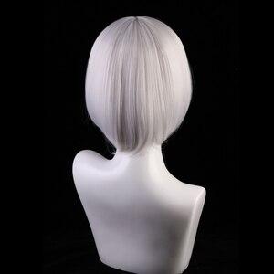 Image 5 - 30 センチジュールレーンコスプレウィッグ加賀女性の髪合成シルバーグレーボブかつら衣装レーン加賀かつら