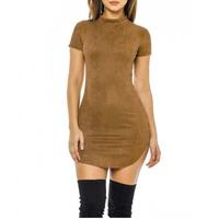 2018 Short Sleeve Slim Party Dress Sexy Club Brown Vestido Women Winter Dresses Kylie Skin Tight Faux Suede Bodycon Dress