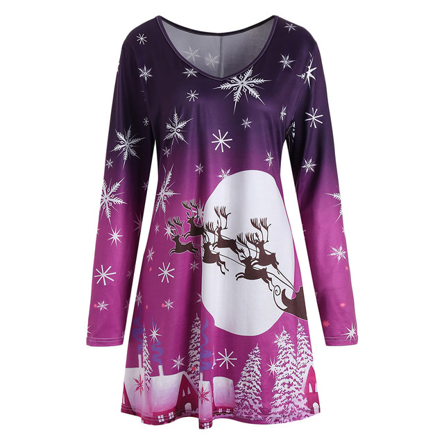 Wipalo Christmas Snowflake Sled Moon Print Plus Size 5XL T Shirt Dress  Christmas Party Dress V 09728d0732a9