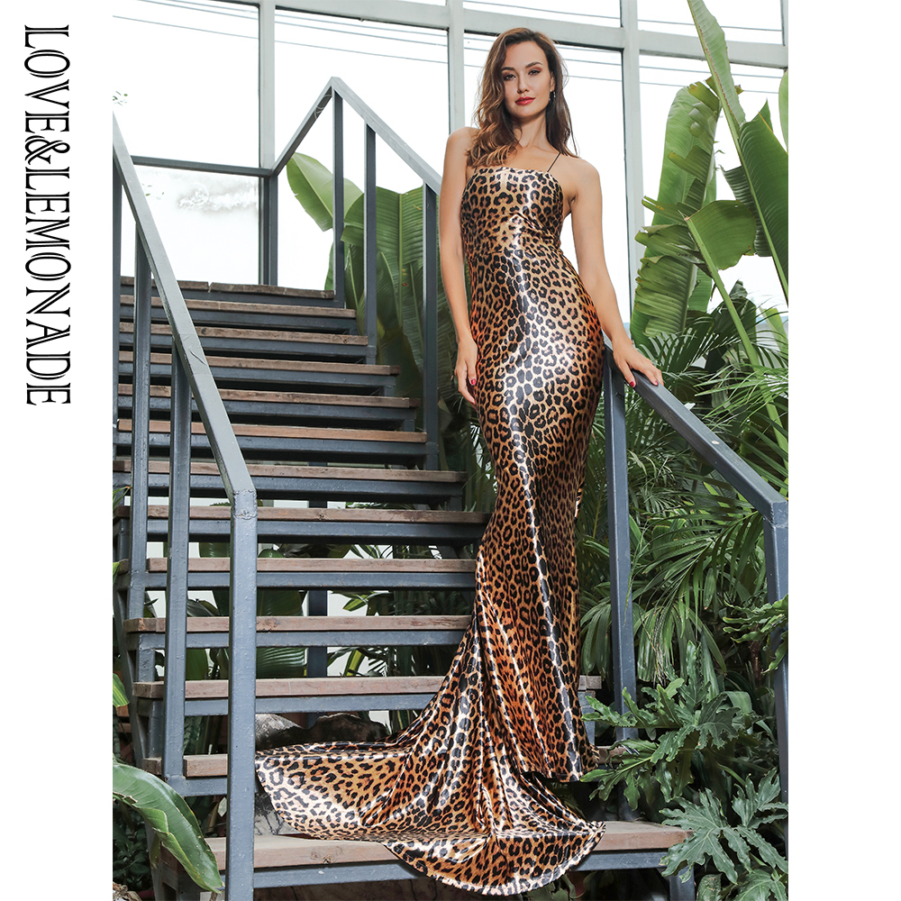 Love Lemonade Sexy Strapless Open Back Leopard Elastic Material Party Long Dress LM81652
