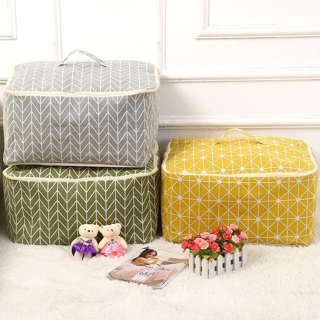 cotton linen fabric Quilt Storage Bag Folding Organizer Bag Portable travel Organizer Underbed Pouch Storage Box Clothing Bag