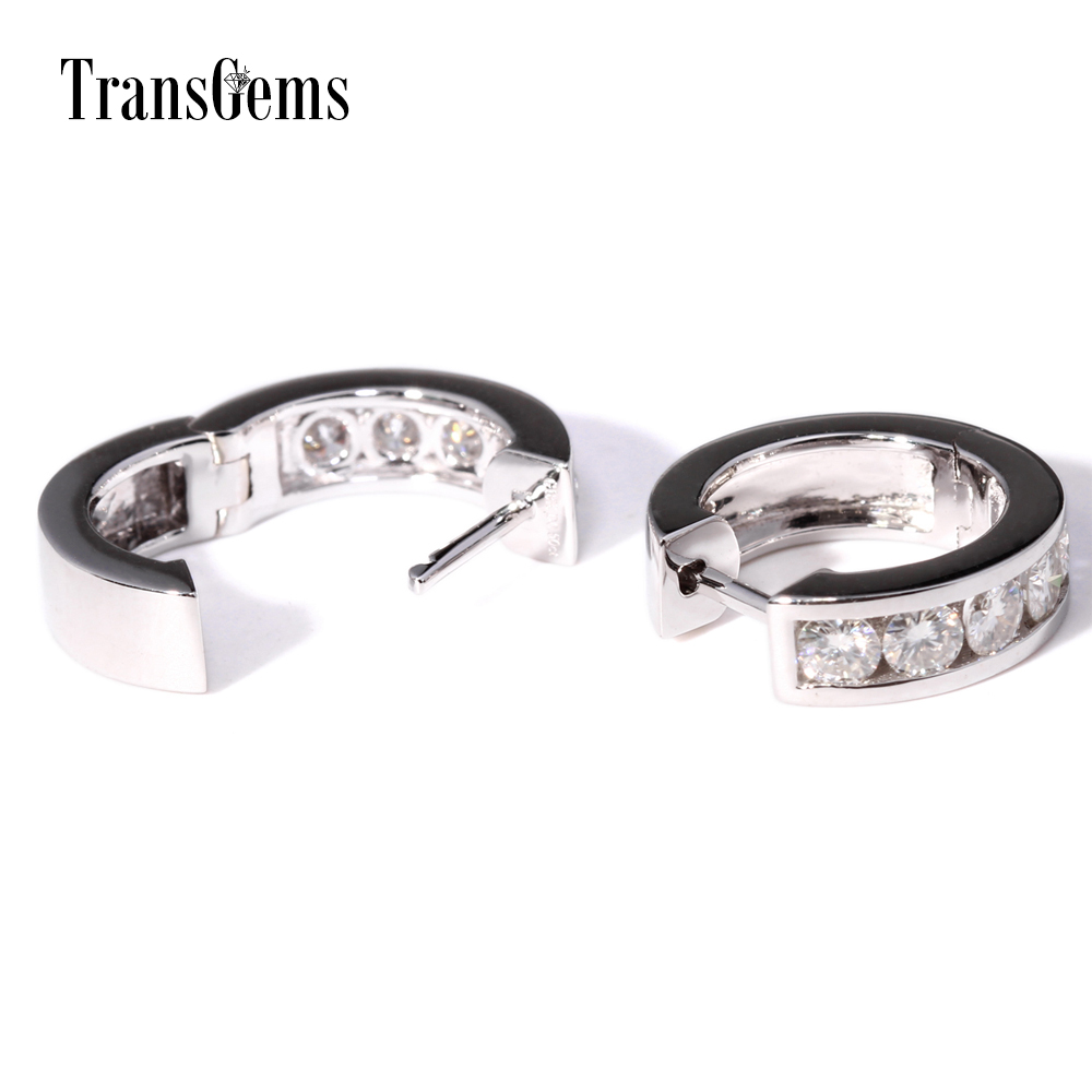 TransGems 1 TCW Carat Lab Grown Moissanite Diamond Hoop Earrings in Solid 14K White Gold for Women Wedding Engagement Birthday in Earrings from Jewelry Accessories