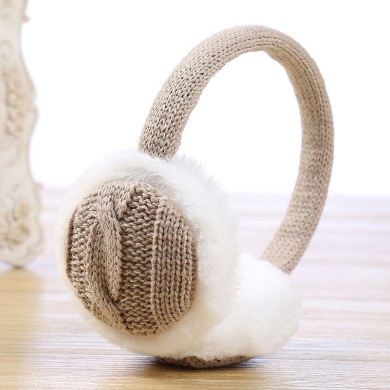 Frauen Winter Kurze Plüsch Gefüttert Ohrenschützer Jacquard Vintage Geflochtenen Gestrickte Earflap Kontrast Farbe Ohr Abdeckung Wärmer Stirnband Ohrenschützer Damen-accessoires