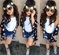 Conjuntos de roupas de bebê menina verão roupa dos miúdos 3 pcs roupas de bebê meninas da moda colete + blusa + calça jeans roupas da menina da criança terno
