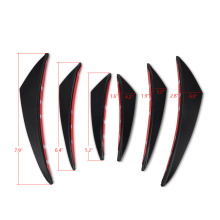 6 PCS For Universal Car Fin Canard Splitter PU Bumper Carbon Fiber Look