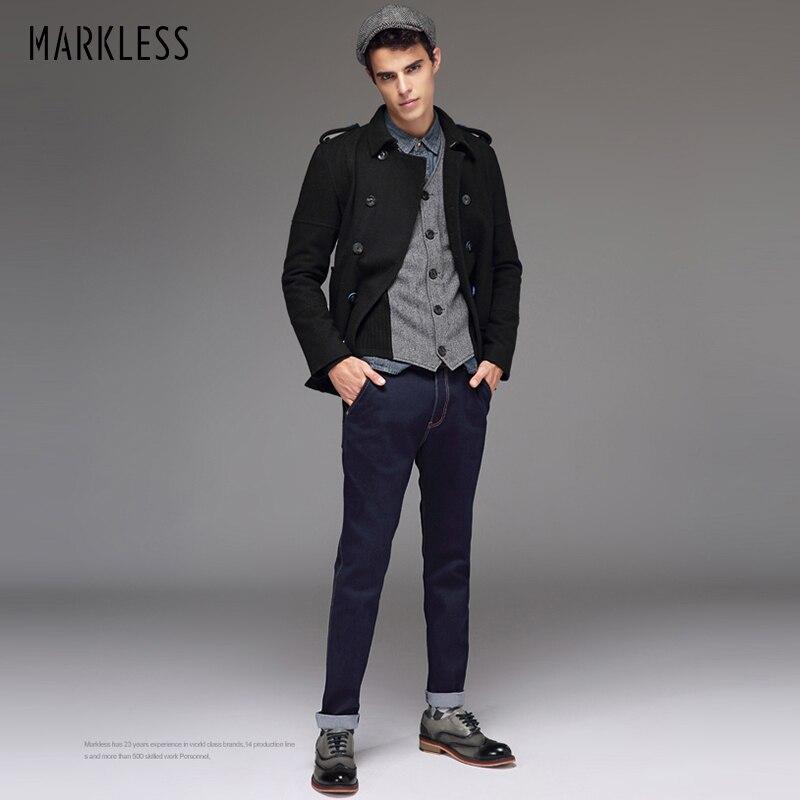 Markless Wool Coat Men 2019 Winter Jackets Men Thick Warm Mens Coats Slim Fit Jaqueta Masculina Overcoat WTA4136M