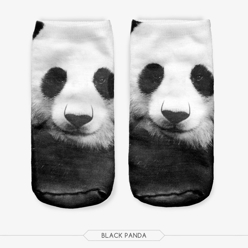 Fashion Panda Socks Women 3D Printing Sock Women Low Cut Ankle Socks Calcetines Hosiery Animal Shapes