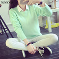 Women Sweaters and Pullovers Autumn Solid Round Neck Full Sleeve Thick Knit Casual Sweater 8 Colors 2016 New Arrival Aelorxin
