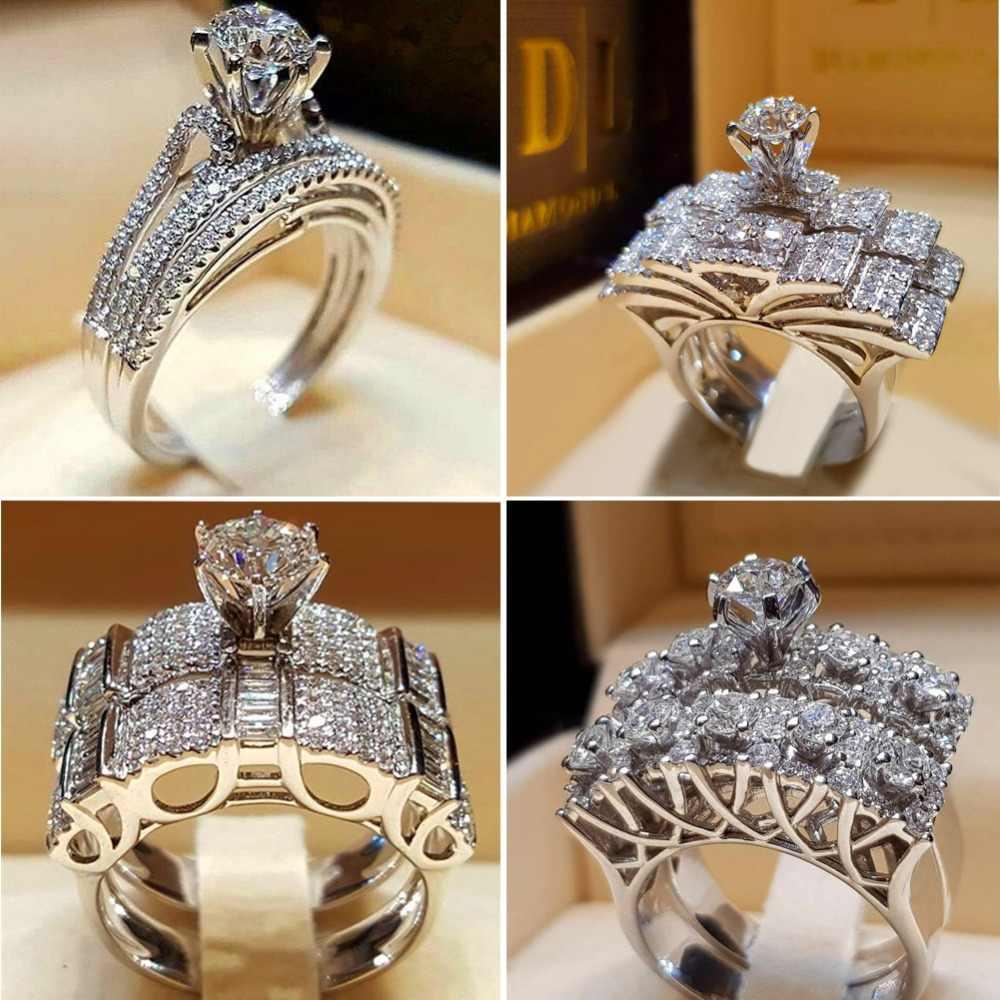 Boho feminino cristal branco anel redondo conjunto marca de luxo promessa 925 prata anel de noivado do vintage nupcial anéis de casamento para mulher