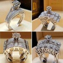 Boho mujer cristal blanco ronda anillo de la marca de lujo de promesa de compromiso anillo 925 Plata de novia Vintage anillos de boda para las mujeres
