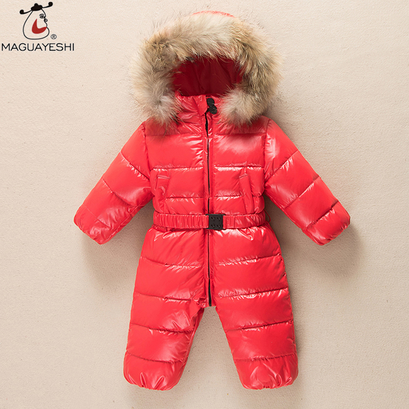 ФОТО 2016 Winter Baby Snow Wear Coat Girls Warm Down & Parkas Kids Long Outerwear Baby Rompers For Baby Girls Clothes Outfits