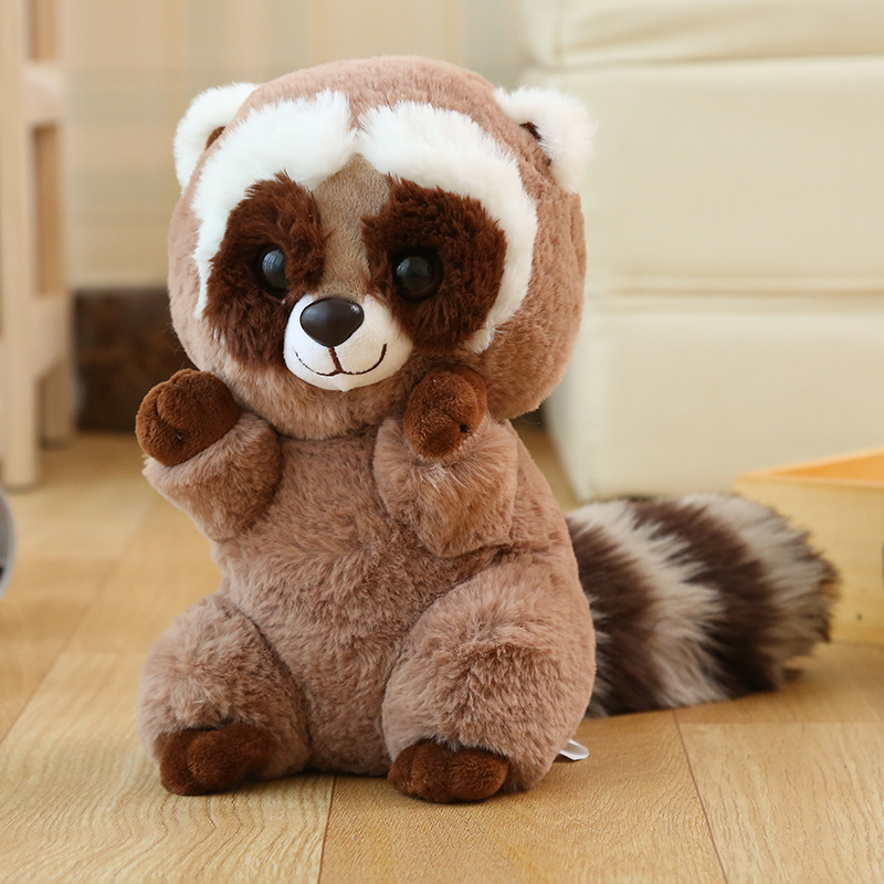 cute plush raccoon toy high quality brown raccoon doll gift about 26cm
