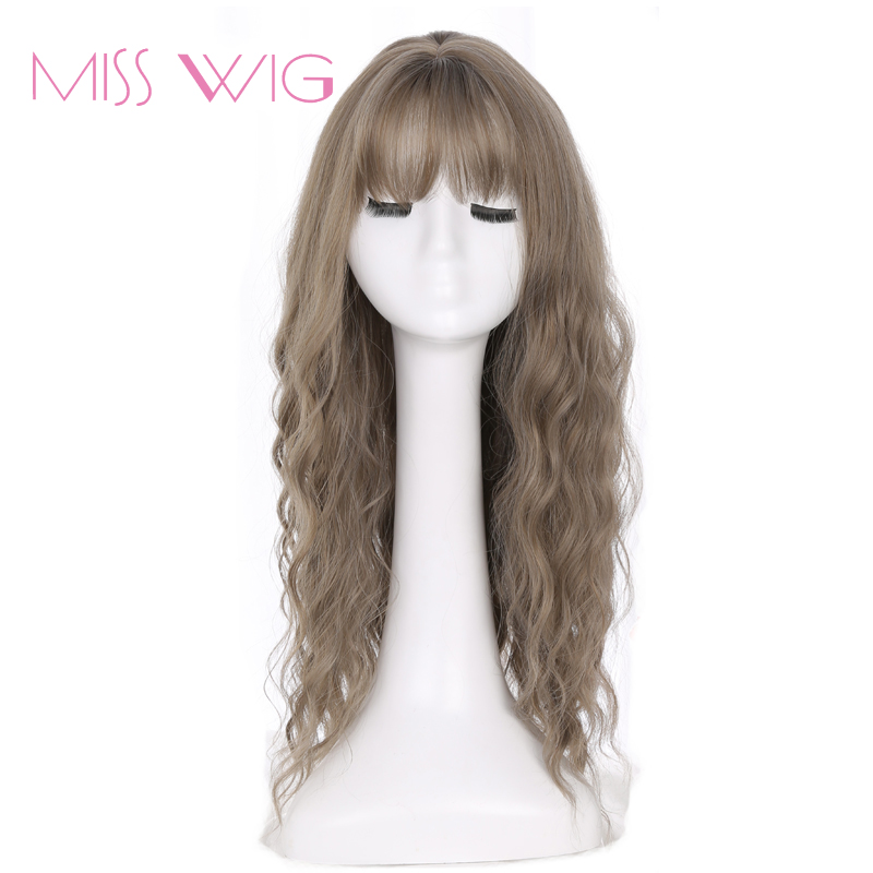 MISS WIG Long Grey Brown Womens Wigs With Bangs Heat Resistant Synthetic Wavy Wigs For Black Women African American