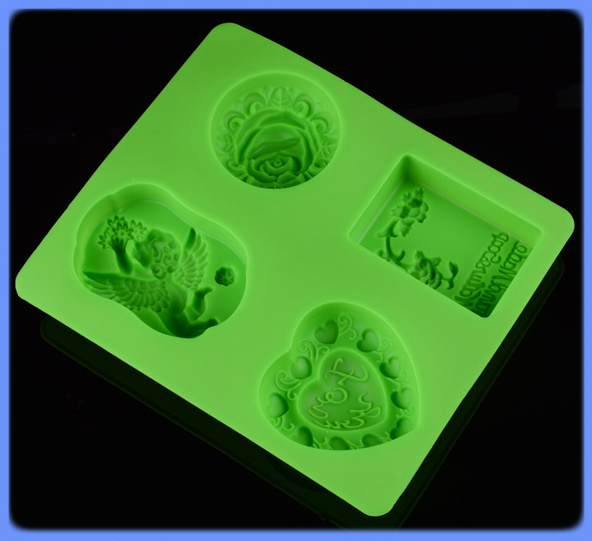 DIY four different kinds of silicone soap mold cake heart flower rose angel mold in Soap Molds from Home Garden
