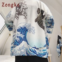 Zongke Japanese Kimono Cardigan Men Wave and Carp Print Long Kimono Cardigan Men Thin Mens Kimono Cardigan Jacket Coat 2018 3