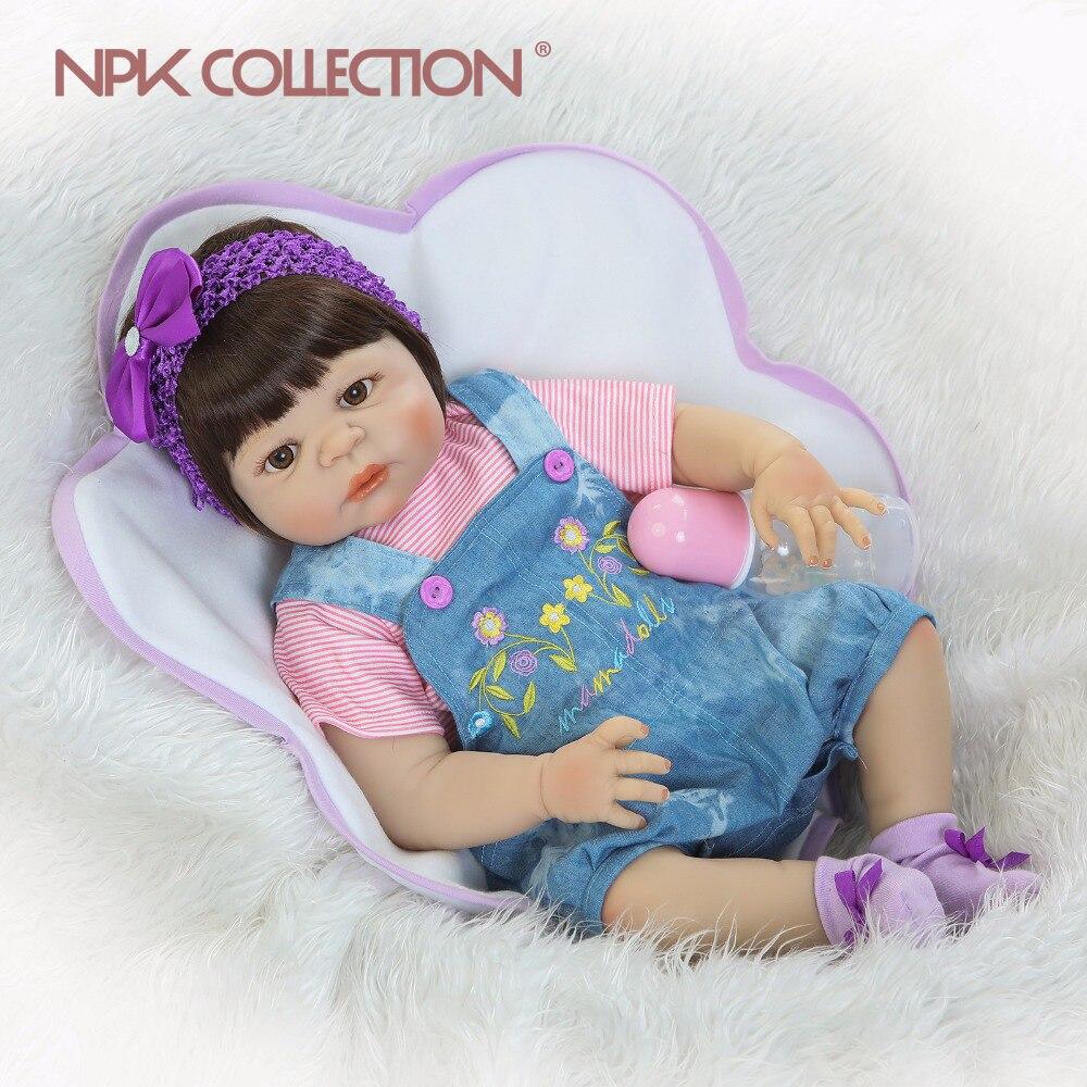 Npk 실물 같은 실리콘 reborn baby menina alive 57 cm 신생아 인형 전체 비닐 실리콘 소녀 진정한 아이들 playmates toys-에서인형부터 완구 & 취미 의  그룹 1