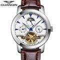 GUANQIN Relógios Turbilhão Mecânico Automático Relógio De Couro Ocasional dos homens de Luxo Homens Data Esporte Luminosa Relógio reloj hombre