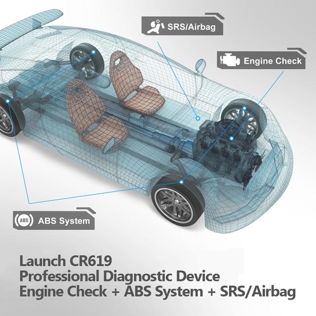 Launch X431 Creader CR619 ODB2 OBD2 Scanner ABS Airbag Scanner Engine Code Reader for OBD 2 Car Diagnostic Launch Scanner CR619