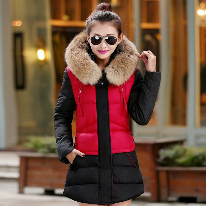 ФОТО Large Real Raccoon Fur 2016 Winter Jacket Women Fur Hood Cotton Padded Coat Parkas For Women Winter Parkas