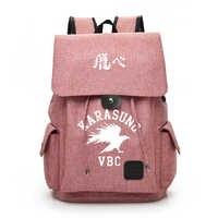 Anime Haikyuu Karasuno Rucksack Laptop Rucksack USB Lade Rucksack Reise Daypacks Schule Bookbag Rucksack Mochila