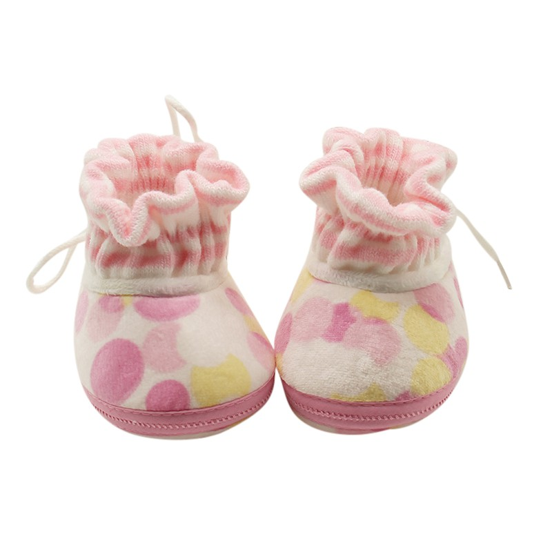 Fashion Newborn Baby Polka Dot Winter Warm Knitted Soft Bottom Lovely Casual First Walker Shoes