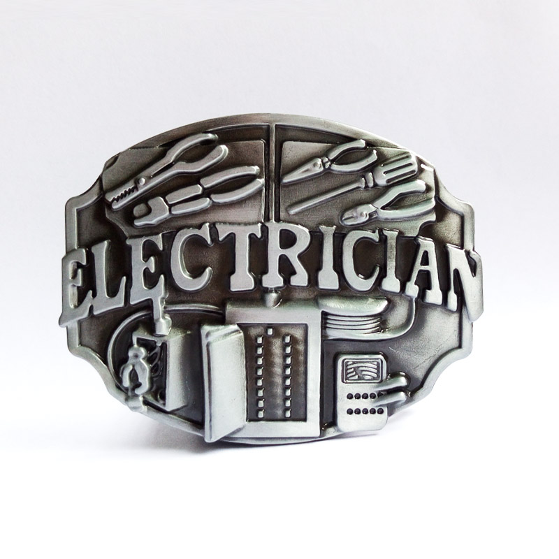 ELECTRICIAN BELT BUCKLE BUCKLES SOLID PEWTER NICE!
