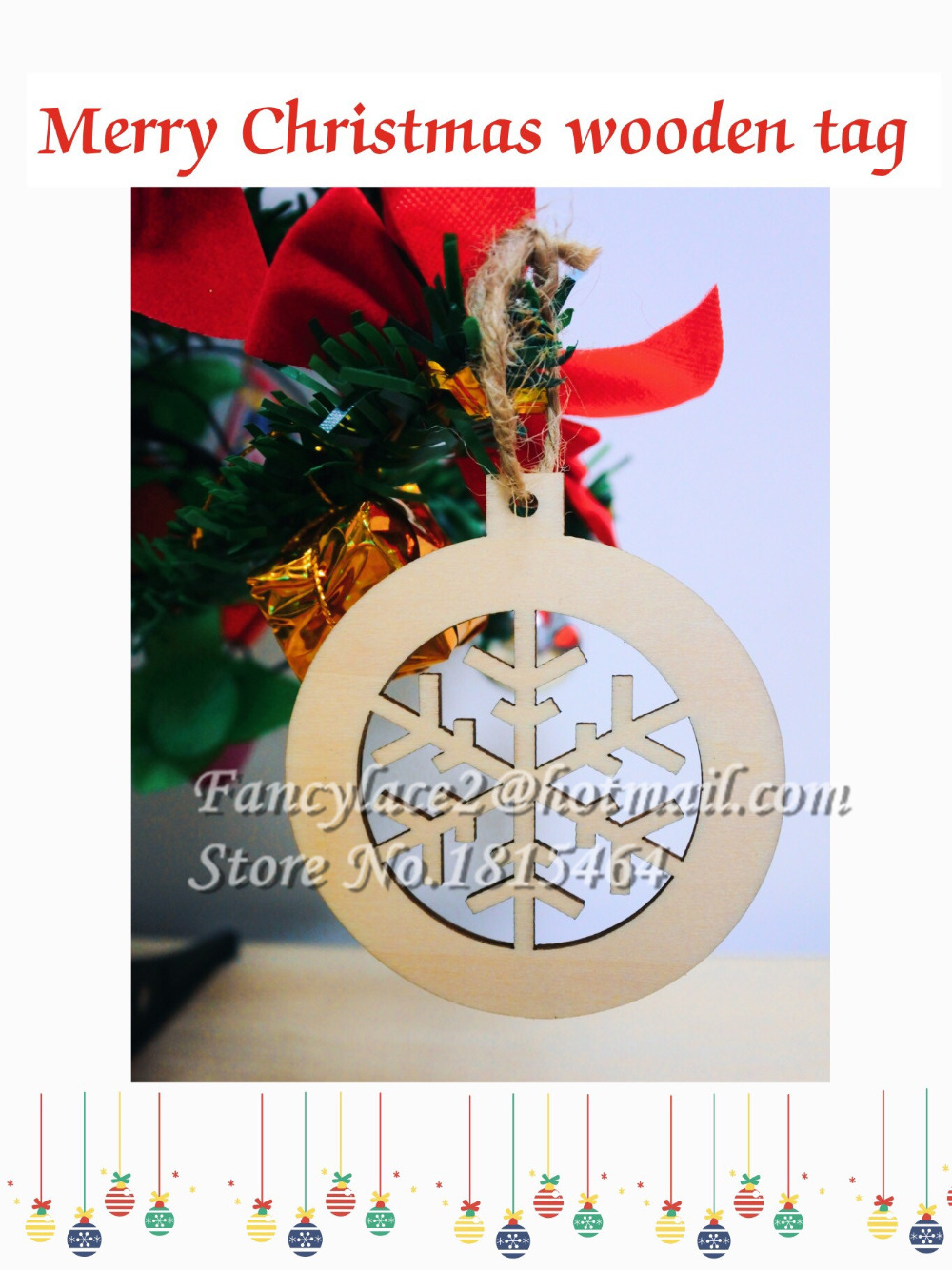 Bell christmas ornament - 60pcs Christmas Tree Decoration Bell Snow Wooden Tags Christmas Ornaments Snow Tag New Year Holiday Party
