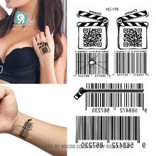 HC1176 Body Art Sex Products Black White Barcode Bar Code Water Transfer Temporary Fast Flash Fake Tattoos Sticker Taty Tatuagem