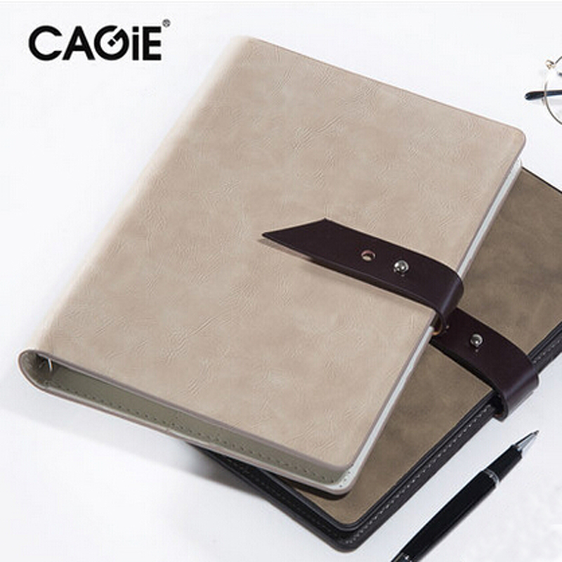CAGIE Vintage Business Spiral Leather Notebook A5 Buckle Binder Planner Agenda Filofax Sketchbook Office Supplies Study Planner sketchbook diary agenda planner organizer planner spiral notebook a5 planner binder address book notebook filofax exercise book