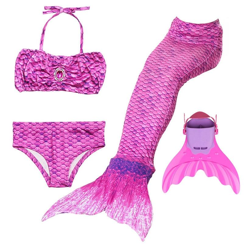 4PCS Girls Mermaid Tail Swimsuits With Monofin Cosplay Costume Mermaid Bikini Set Kids Mermaid Tails Swimwear Beach Swim Clothes